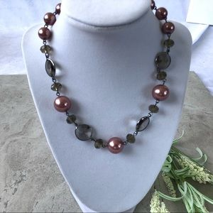 New! Pink and Black Pearl & Bead Necklace